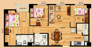 3-bedroom unit at Toledo Tower of Tropicana Garden City in Marikina