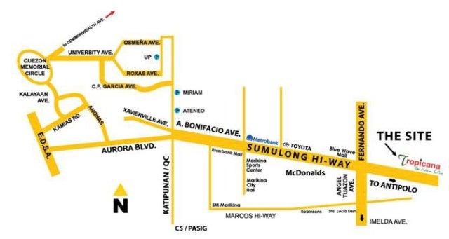 Tropicana Garden City Location Map